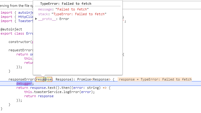 TypeError: Failed to fetch